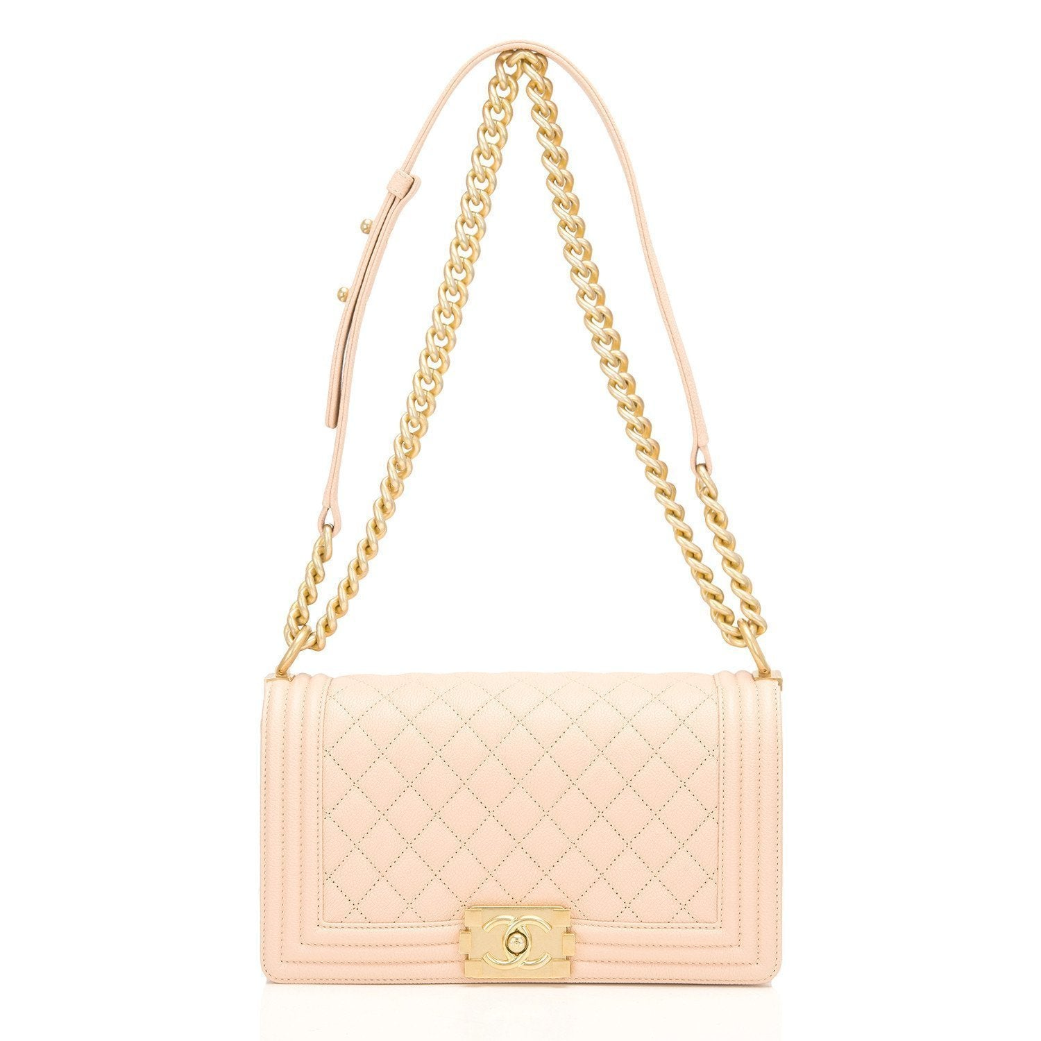 Chanel Light Beige Quilted Caviar Medium Boy Bag Handbags