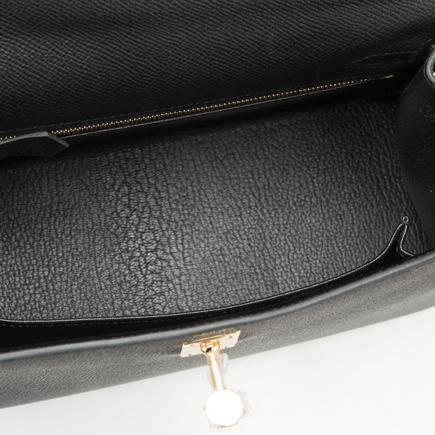 Hermes Black Epsom Sellier Kelly 25Cm Gold Hardware Handbags