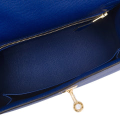 Hermes Blue Electric Epsom Sellier Kelly 25Cm Gold Hardware Handbags