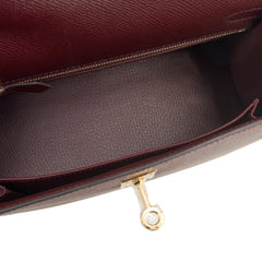 Hermes Bordeaux Epsom Sellier Kelly 25Cm Gold Hardware Handbags
