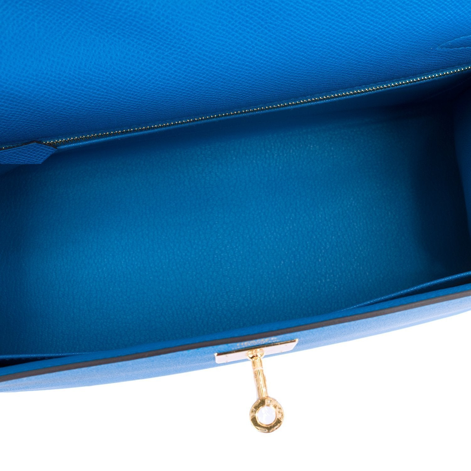 Hermes Blue Zanzibar Epsom Sellier Kelly 28Cm Gold Hardware Handbags