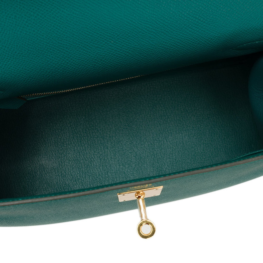 Hermes Malachite Epsom Sellier Kelly 28Cm Gold Hardware Handbags
