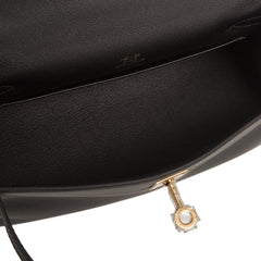 Hermes Black Swift Mini Kelly Pochette Handbags