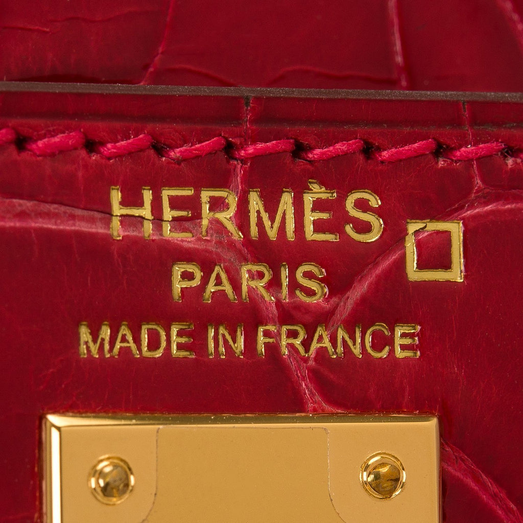 Hermes Braise Shiny Alligator Kelly 25Cm Gold Hardware Handbags