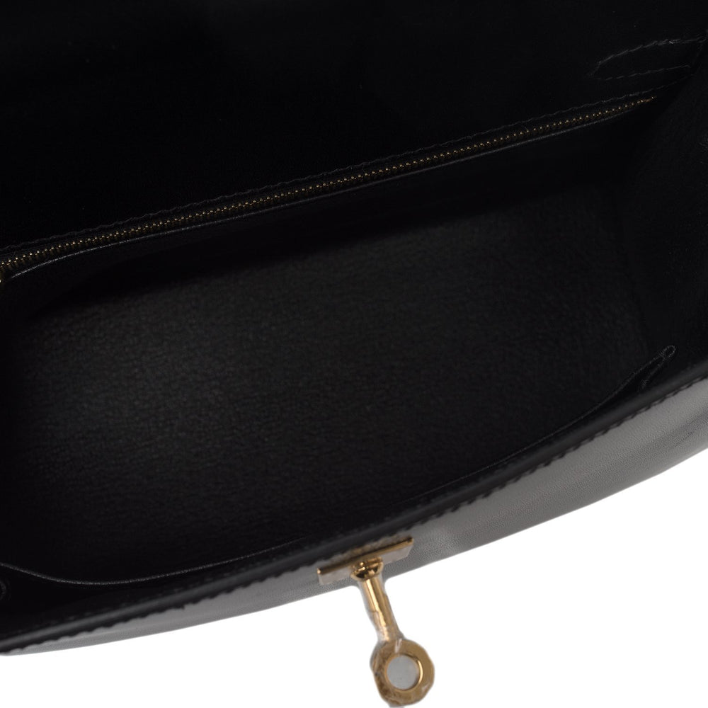 Hermes Black Box Sellier Kelly 25Cm Gold Hardware Handbags