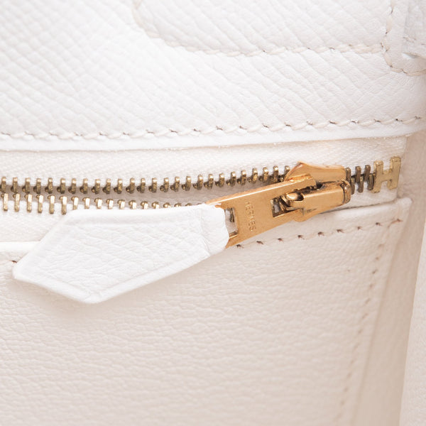 Hermes White Epsom Sellier Kelly 32Cm Gold Hardware Handbags