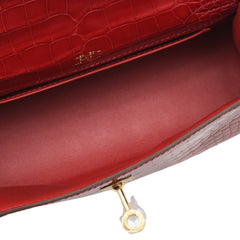 Hermes Braise Shiny Alligator Mini Kelly Pochette Handbags