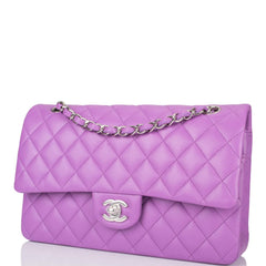 Chanel Purple Quilted Lambskin Medium Classic Double Flap Bag Silver Hardware