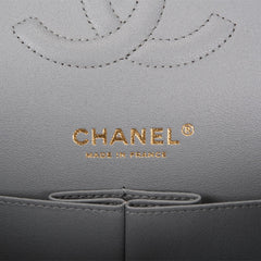 Chanel Shiny Grey Quilted Caviar Medium Classic Double Flap Bag Light Gold Hardware