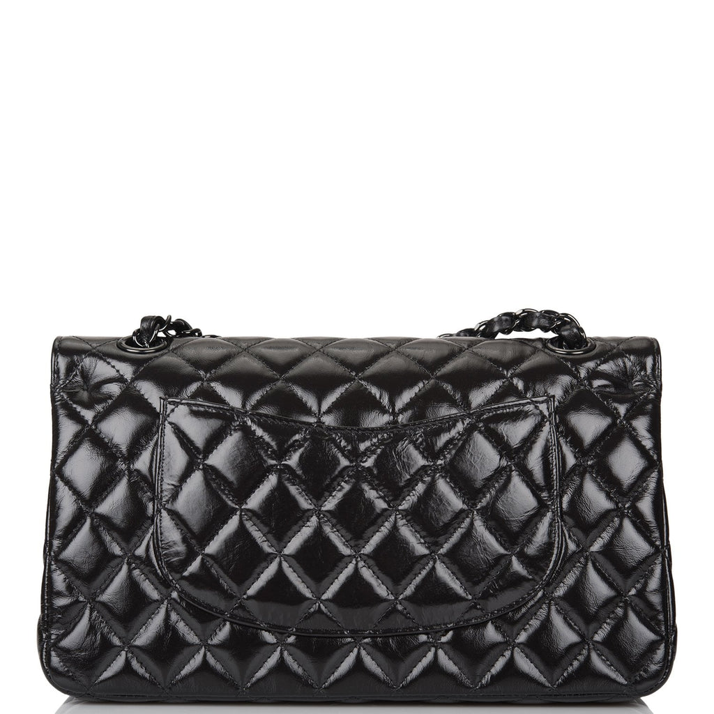 Chanel Shiny SO Black Crumpled Calfskin Quilted Medium Classic Double Flap Bag Black Hardware