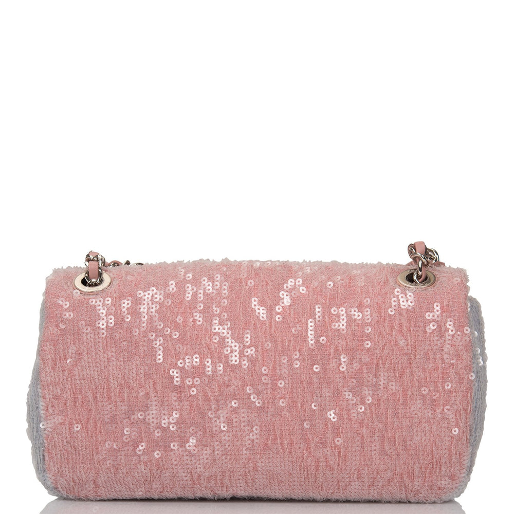 "Chanel Pink Sequin ""Waterfall"" Mini Flap Bag Silver Hardware"
