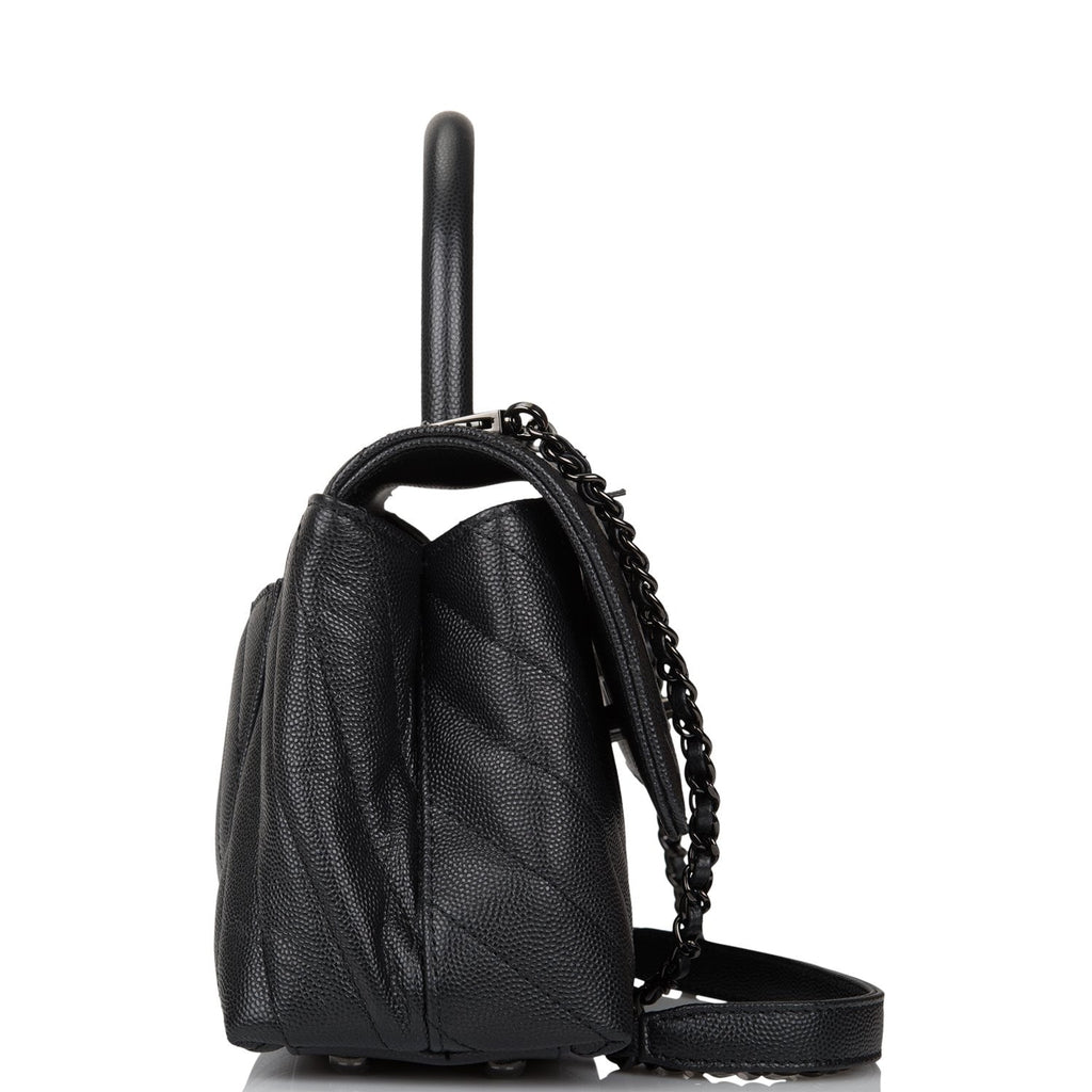 Chanel SO Black Chevron Caviar Mini Coco Handle Flap Bag Black Hardware