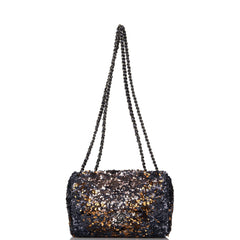Chanel Blue and Gold Sequin Mini Flap Bag Ruthenium Hardware