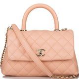 Chanel Light Pink Caviar Mini Coco Handle Flap Bag Light Gold Hardware