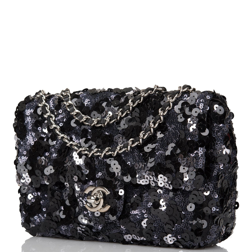 Chanel Black and Silver Sequin Mini Flap Bag Silver Hardware