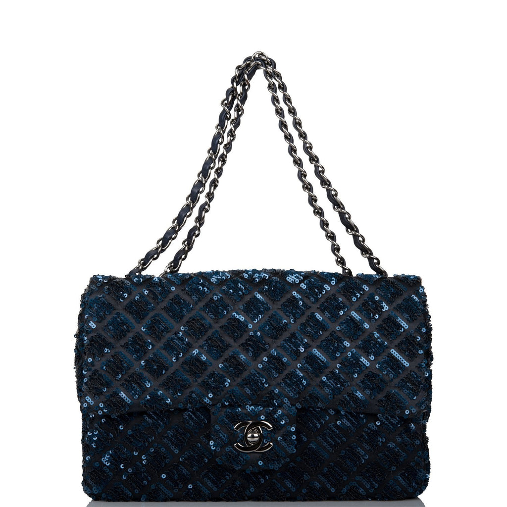 Chanel Navy Sequin Medium Single Flap Bag Silver Hardware