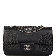 Chanel Black Camellia Follies Lambskin Embroidered Flap Bag Silver Hardware