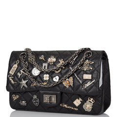 Chanel Black Aged Calfskin Reissue 2.55 Lucky Charms Flap Bag Aged Ruthenium Hardware