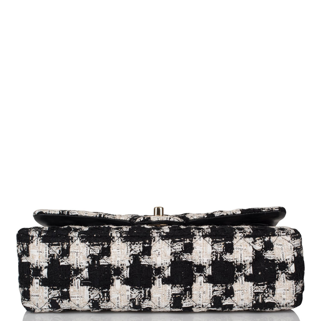 Chanel Black and White Tweed Medium Classic Double Flap Bag Light Gold Hardware