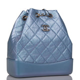 Chanel Blue Iridescent Calfskin Quilted Gabrielle Small Backpack Mixed Metals