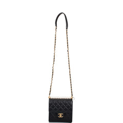 Chanel Imitation Pearl Black Goatskin Flap Bag Matte Gold Hardware