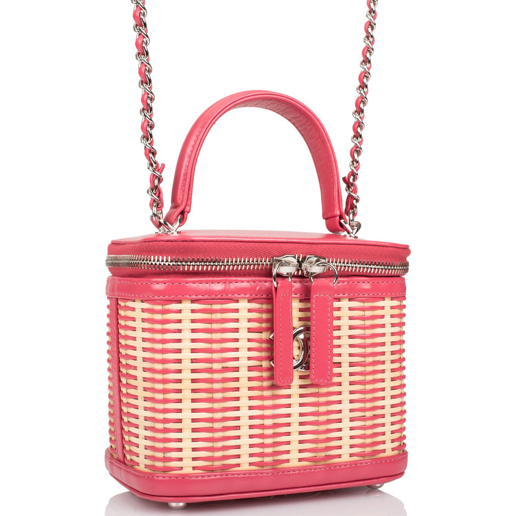 Chanel Pink Small Rattan Vanity Case Silver Hardware