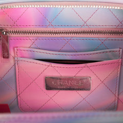 Chanel Pink PVC Small Filigree Vanity Case Bag Silver Hardware