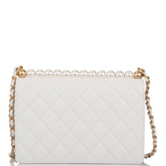 Chanel Imitation Pearl White Goatskin Flap Bag Antique Gold Hardware