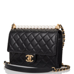Chanel Imitation Pearl Black Goatskin Flap Bag Antique Gold Hardware