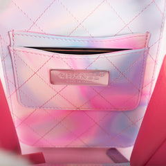 Chanel Pink PVC Vertical Small Filigree Vanity Case Bag Silver Hardware