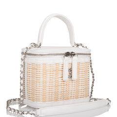 Chanel White Small Rattan Vanity Case Silver Hardware