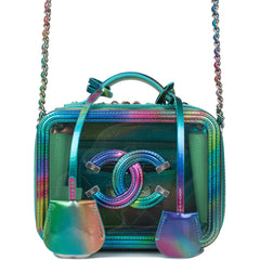 Chanel Green PVC Small Filigree Vanity Case Bag Silver Hardware