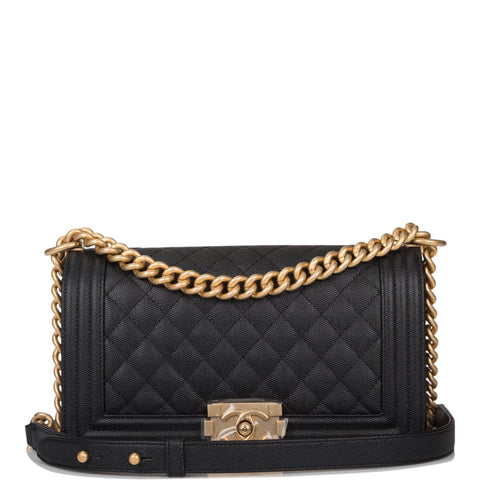 Chanel Black Quilted Caviar Medium Boy Bag Antique Gold Hardware