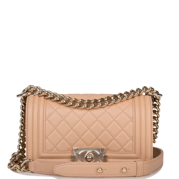 Chanel Camel Quilted Lambskin Small Boy Bag Light Gold Hardware