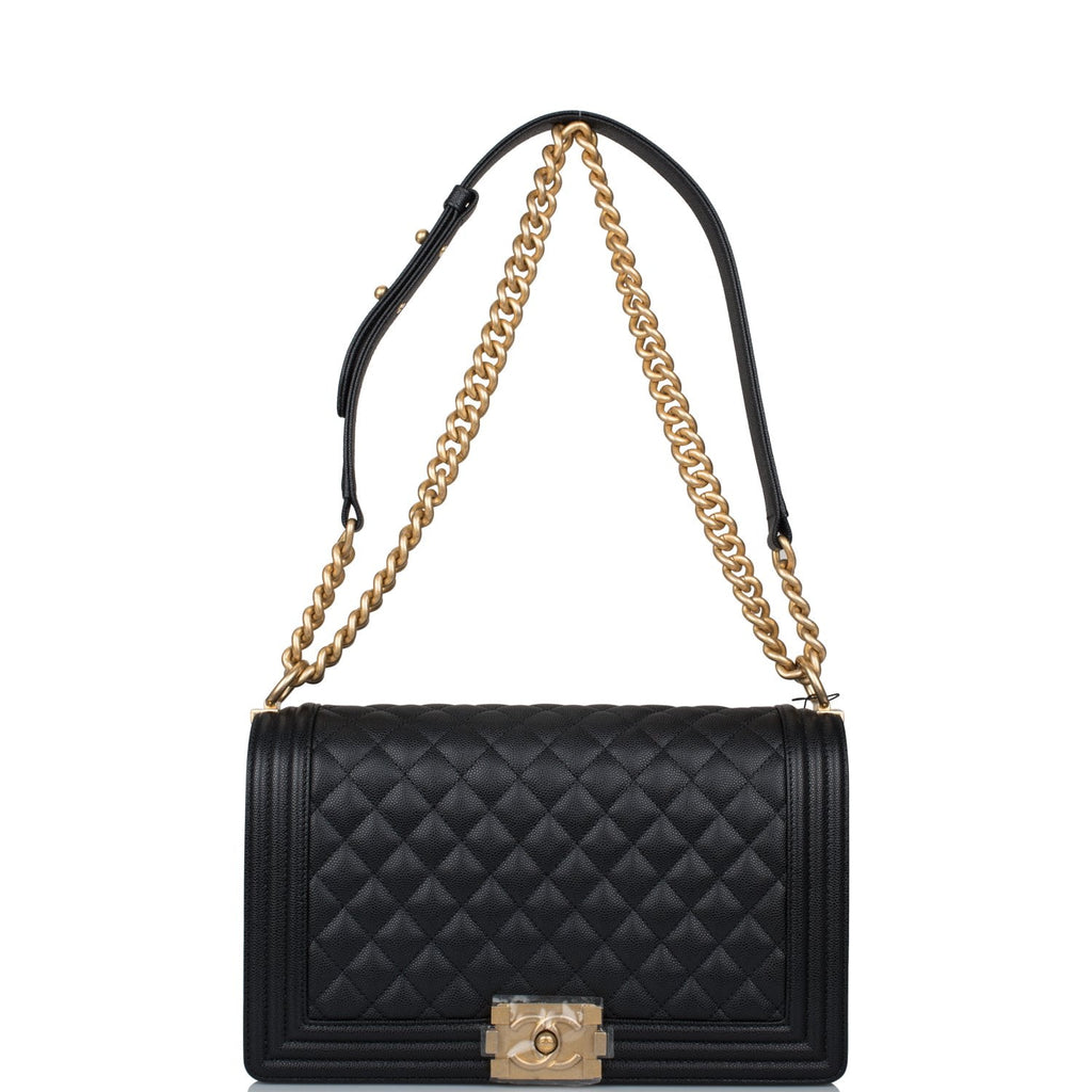 Chanel Black Quilted Caviar New Medium Boy Bag Antique Gold Hardware