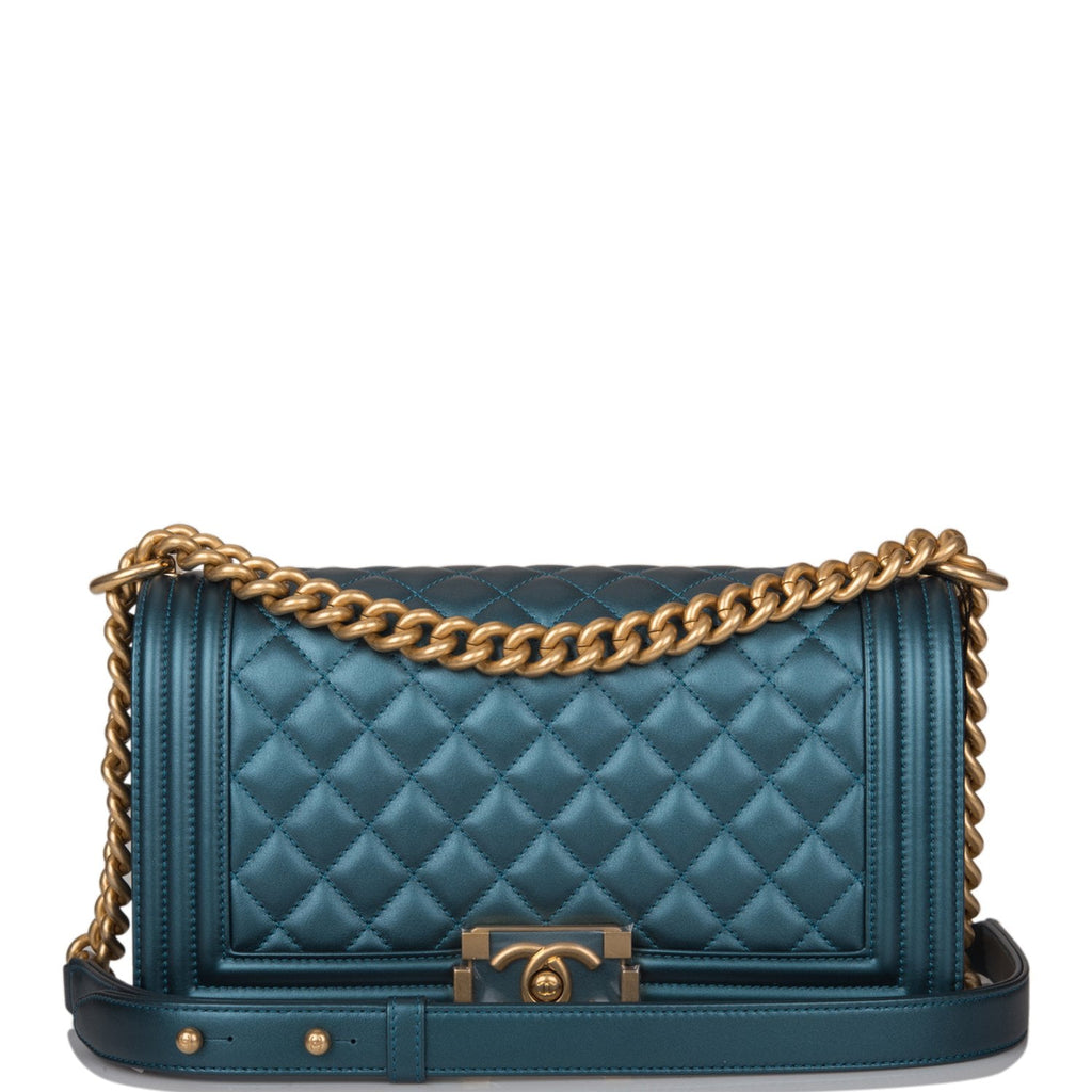 Chanel Blue Metallic Quilted Calfskin Medium Boy Bag Antique Gold Hardware