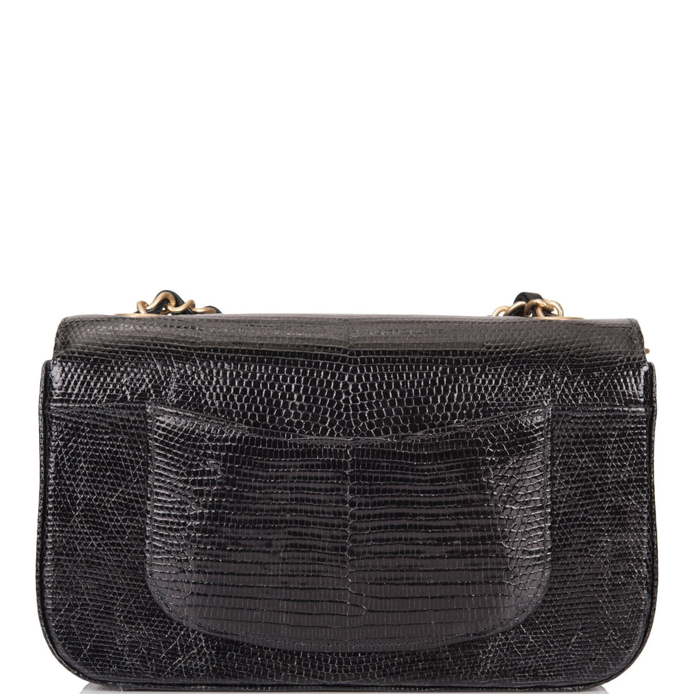 Chanel Black Shiny Lizard Rectangular Mini Classic Flap Bag Antique Gold Hardware