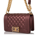 Chanel Plum Metallic Quilted Calfskin Small Boy Bag Antique Gold Hardware