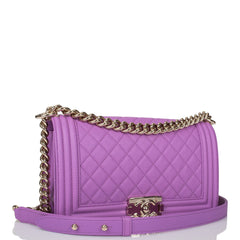 Chanel Purple Quilted Caviar Medium Boy Bag Light Gold Hardware