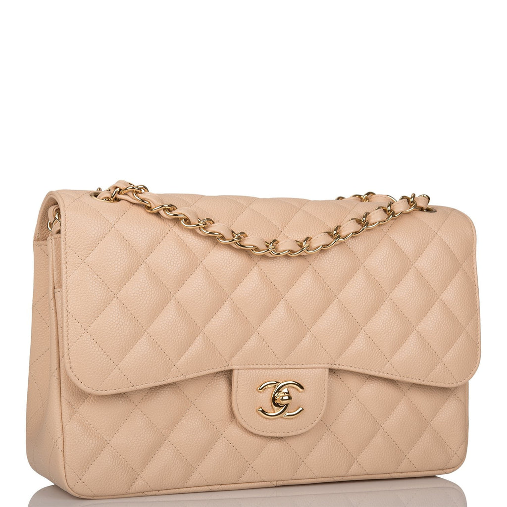 Chanel Beige Quilted Caviar Jumbo Classic Double Flap Bag Gold Hardware (Preloved - Mint)