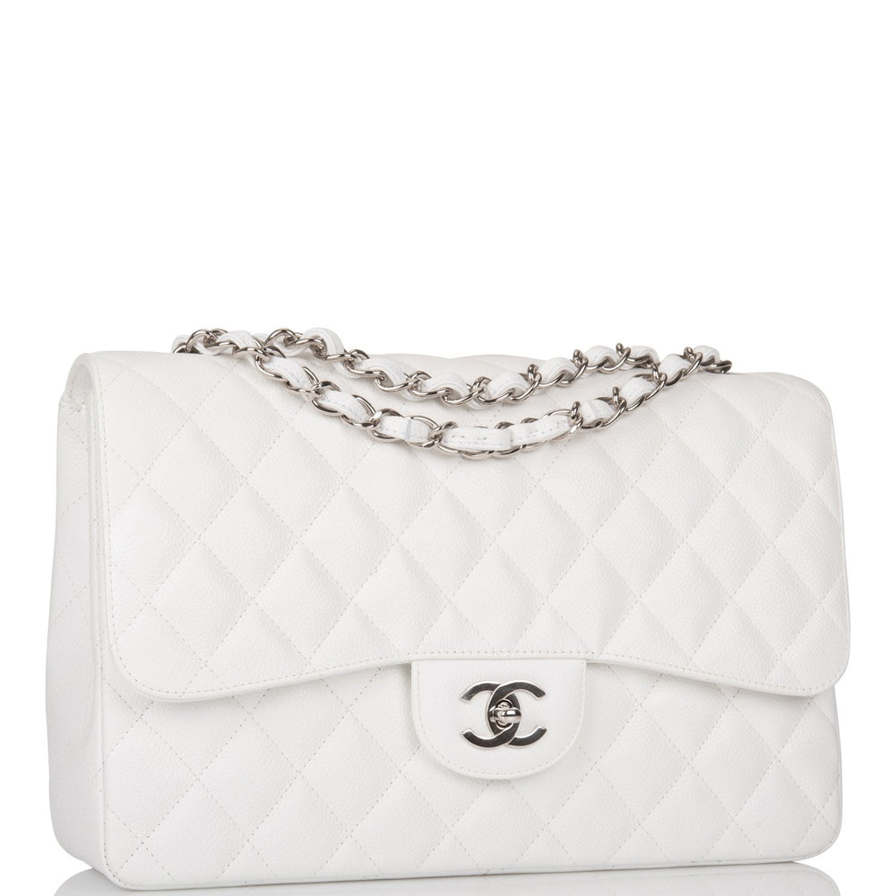 Chanel White Quilted Caviar Jumbo Single Flap Bag Silver Hardware (Preloved - Mint)