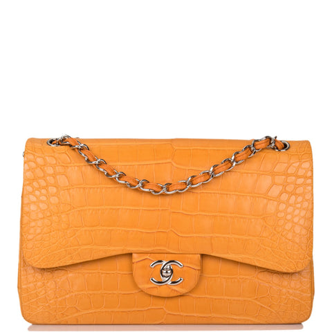 Chanel Orange Alligator Jumbo Classic Double Flap Bag Silver Hardware