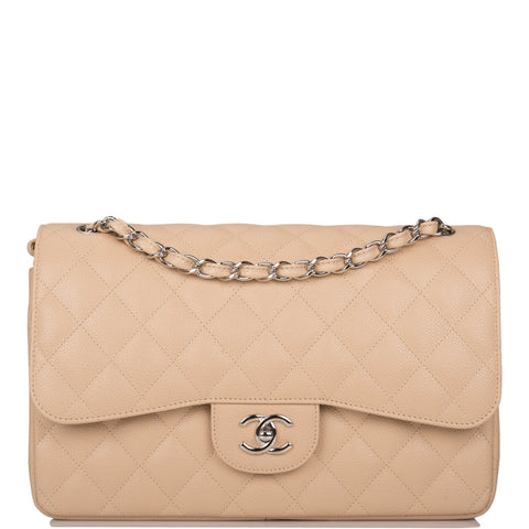 Chanel Beige Quilted Caviar Jumbo Classic Double Flap Bag Silver Hardware