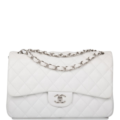 Chanel White Quilted Lambskin Jumbo Classic Double Flap Bag Silver Hardware
