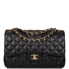 Chanel Black Quilted Lambskin Jumbo Classic Double Flap Bag Gold Hardware