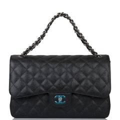 Chanel Black Quilted Caviar Jumbo Classic Double Flap Bag Silver Hardware