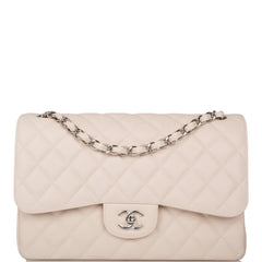 Chanel Light Beige Quilted Caviar Jumbo Classic Double Flap Bag Silver Hardware