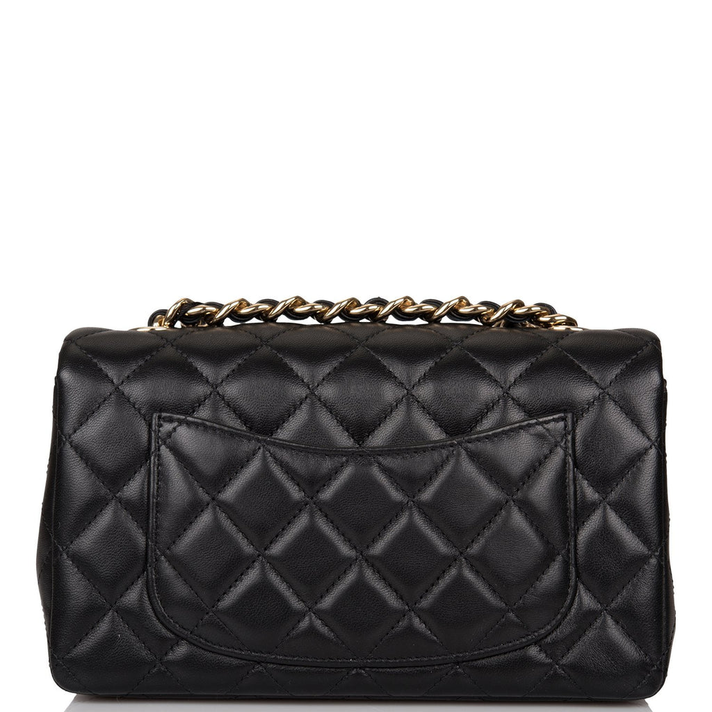 Chanel Black Charm Quilted Lambskin Rectangular Mini Classic Flap Bag Light Gold Hardware
