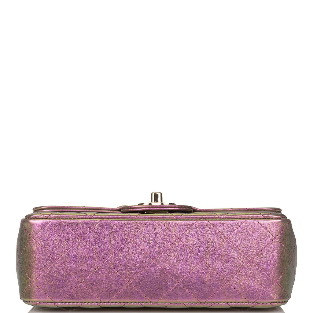 Chanel Purple Iridescent Quilted Lambskin Rectangular Mini Classic Flap Bag Light Gold Hardware