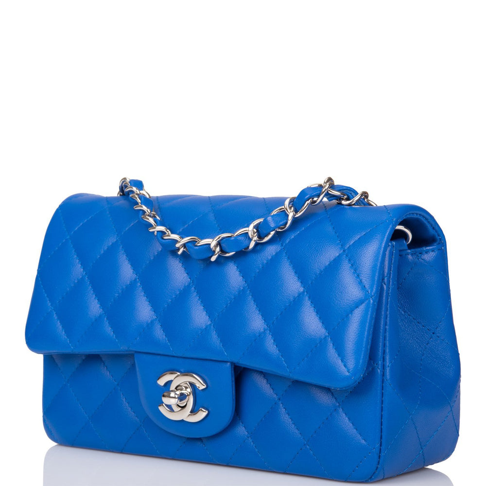 Chanel Blue Quilted Lambskin Rectangular Mini Classic Flap Bag Silver Hardware